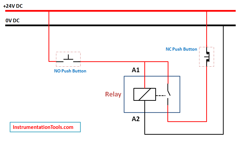 Relay Hold Circuit using Push button